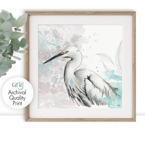 Egret Water Bird Print, Nature Prints Wall Art, White Heron Painting