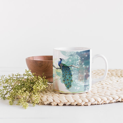 Peacock mug, Peacock gifts, Coffee or tea mug, Pretty bird mug
