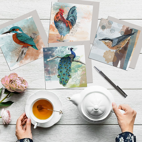 Bird card set of 4, Kingfisher, Peacock, Nuthatch, Cockerel, art cards