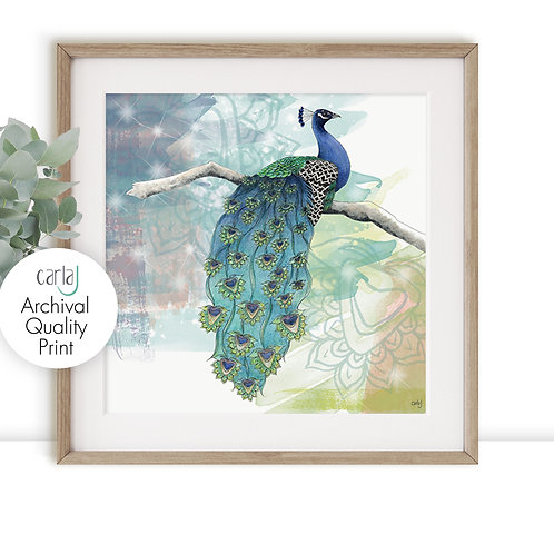 Peacock art print, Bird print, Giclee wall art, Blue home decor, Peacock gifts