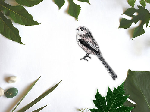 Wall Sticker Cute Bird, British Garden Birds Wall Stickers, Long Tailed Tit
