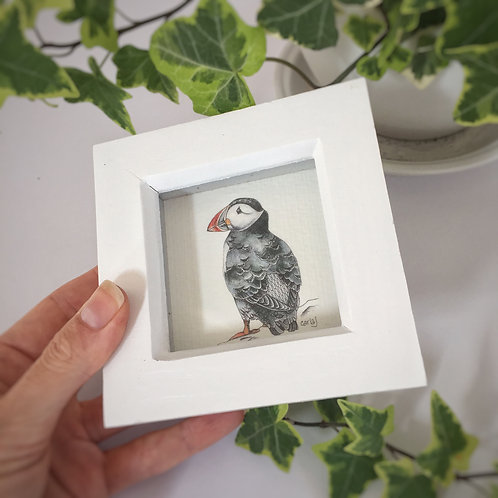 Tiny framed art, Puffin gifts, Small framed print, Miniature Puffin art print