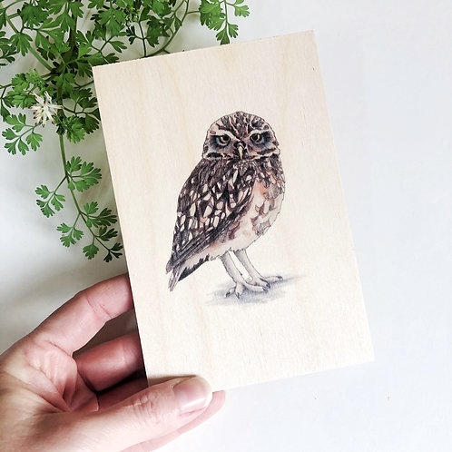 Owl Postcard Wood, Cute Owl Gifts, Unique Gift, Wooden Postcard Natural Decor