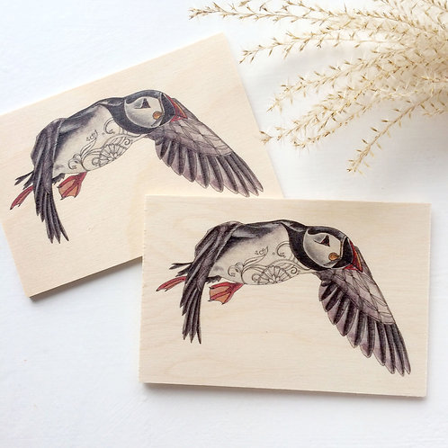 Puffin wooden postcard set of 2, puffin gifts, bird on wood natural decor