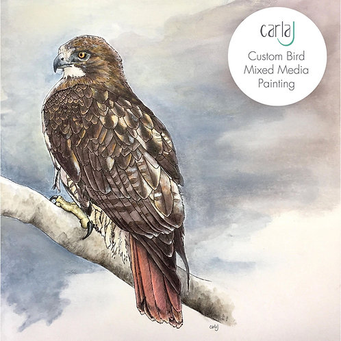 Bird Art Commission, Original Painting, Custom Bird Gifts, Pet Bird Painting, Bi
