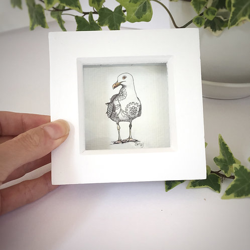 Small framed print, Tiny bird print, Seagull wall art, Mini art print, Mini gift