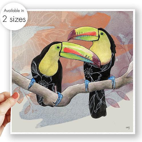 Exotic Bird Print, Toucan Art, Tropical Wall Art, Colourful Nature Prints