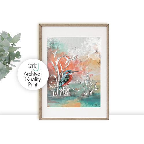 Kingfisher art watercolor print, Blue bird painting, Teal nature art prints