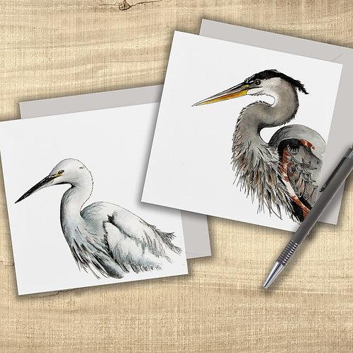 Wading bird art cards, Pack of 2 blank nature cards, Grey Heron, Little Egret