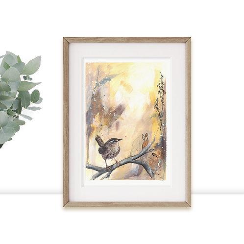 Wren Bird Limited Edition A3 A4 Art Print in Autumn Colours & Gold Leaf