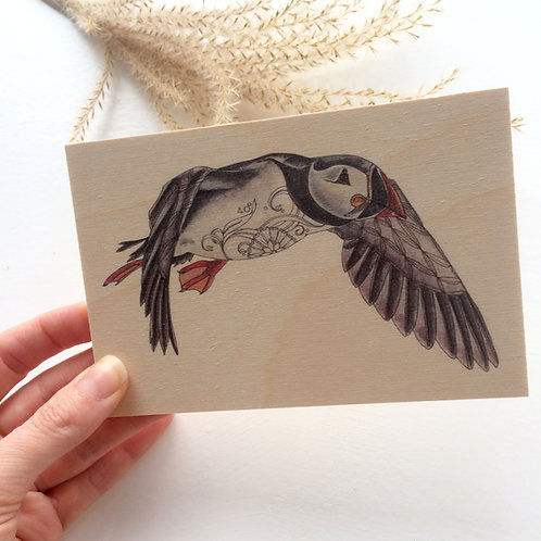 Puffin Wooden Postcard, Puffin Gifts, Bird on Wood Natural Decor