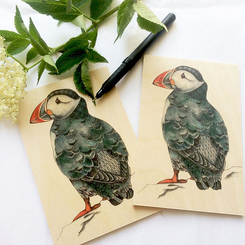 Wooden Postcards Puffin Pack of 2 bird gifts wood birds postcard set
