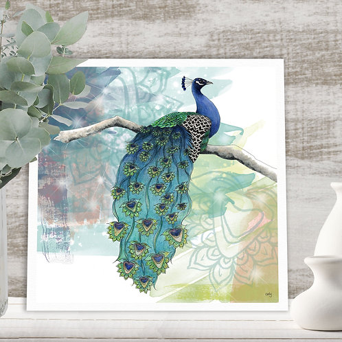 Blue Peacock print, nature art home decor, colourful bird illustration print