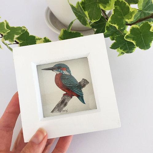 Mini art print, Small framed print, Kingfisher art print, Tiny bird print