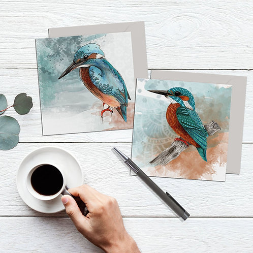 Kingfisher card, Pack of 2 blank cards, nature inspired bird lover gift