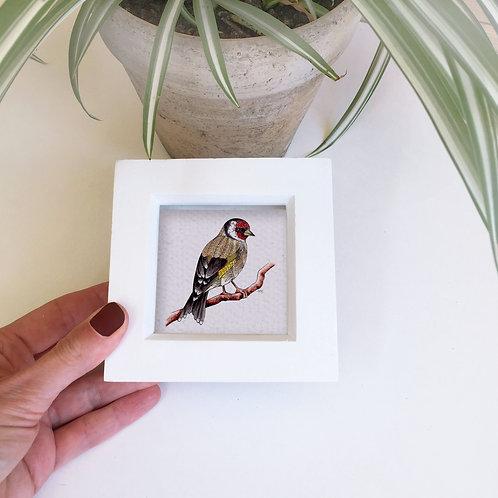 Cute Bird Mini Framed Prints, Goldfinch Tiny Bird Print, Small Art Prints