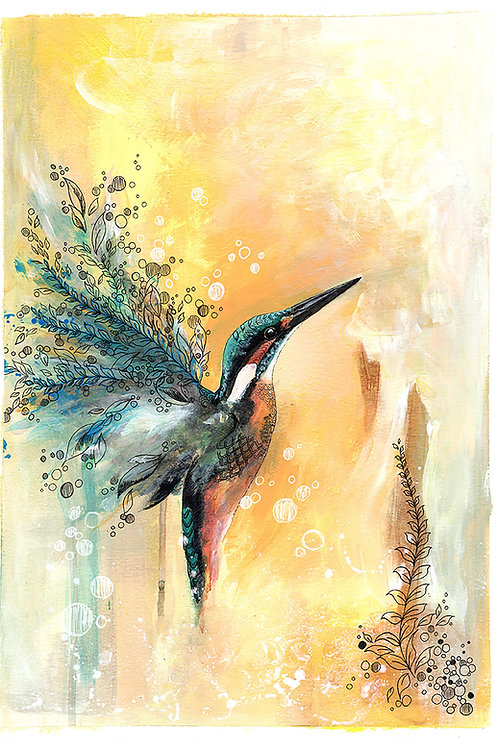 Kingfisher Painting Original Bird Art, Bright Yellow and Blue with Gold Leaf