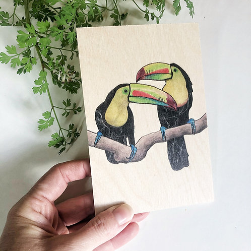 Toucans Wooden Postcard, Unique Just Because Gift, Wood Postcard, Toucan Gifts