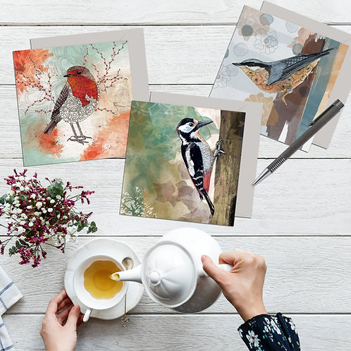Greeting card set of 3 woodland birds, Nuthatch, Woodpecker, Robin art cards