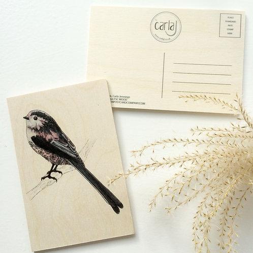 Wood Postcard Long Tailed Tit, Cute Bird on Wood, British Garden Bird