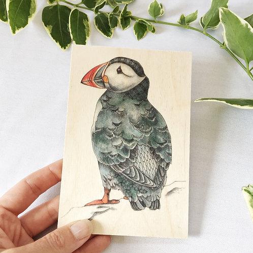 Puffin Wooden Postcard, Bird on Wood, Puffin Bird Gifts, Wood Postcard