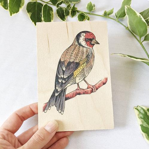 Wood Postcard, Goldfinch Bird on a Branch, British Garden Birds Wooden Postcard,