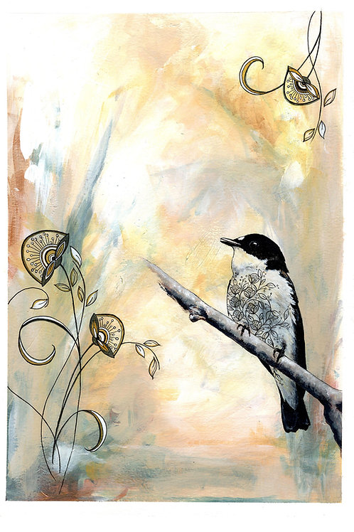Calming Bird Painting, Beautiful Artwork, Original Nature Art Acrylic Painting