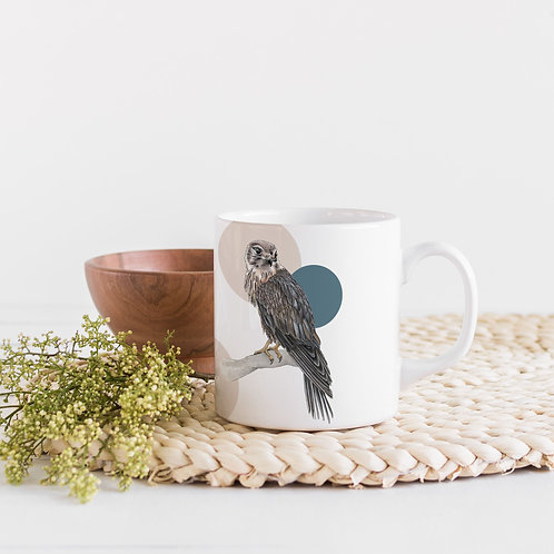 Scandi Ceramic Coffee or Tea Mug, Bird of Prey Art Mug, Bird Lover Gift
