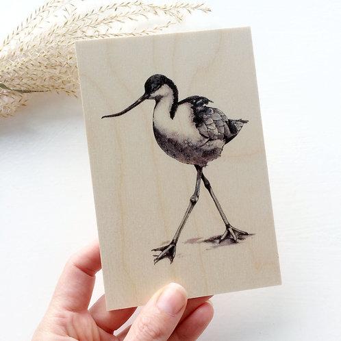 Avocet Wading Bird Wooden Postcard, Bird on Wood Natural Decor