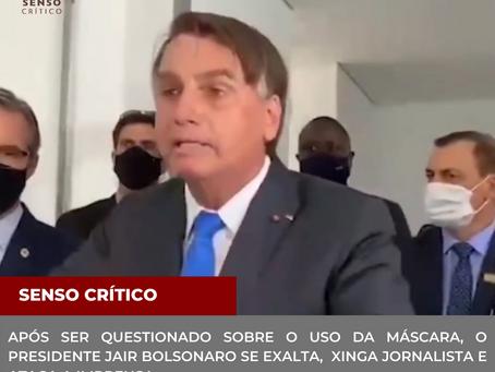 Após ser questionado sobre o uso da máscara, o presidente Jair Bolsonaro se exalta e ataca imprensa.