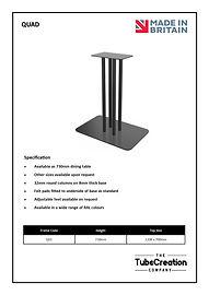 Quad frame spec sheet