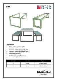 Titus frame spec sheet