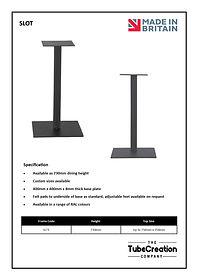 Slot frame spec sheet