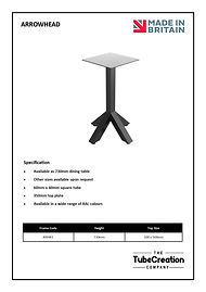 Arrowhead frame spec sheet