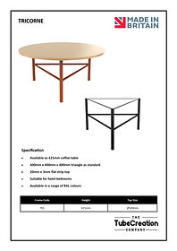 Tricorne frame spec sheet