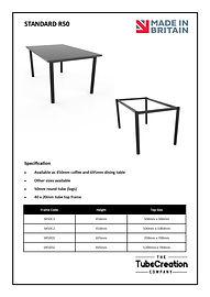 Standard R50 frame spec sheet