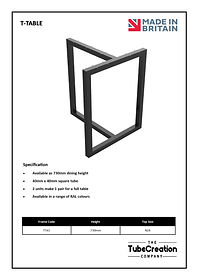 T-Table frame spec sheet