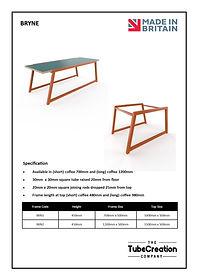 Bryne table spec sheet