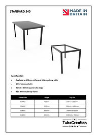 Standard S40 frame spec sheet