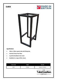 Cubix frame spec sheet