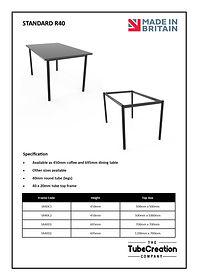 Standard R40 frame spec sheet