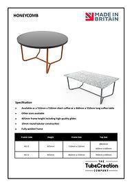 Honeycomb frame spec sheet
