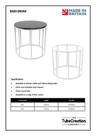 Bass Drum frame spec sheet