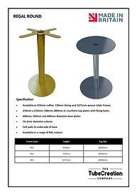 Regal Round frame spec sheet