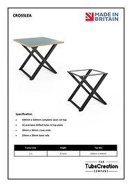 Crosslea frame spec sheet