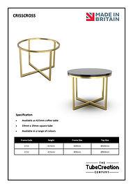 Crisscross frame spec sheet