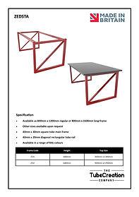 Zedsta frame spec sheet