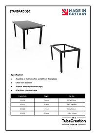 Standard S50 frame spec sheet