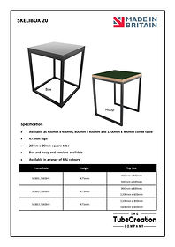 Skelibox 20 frame spec sheet