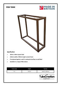Fish Tank table frame spec sheet